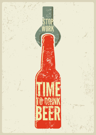 old time: Typographic retro grunge beer poster. Vector illustration.