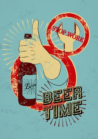 grunge bottle: Typographic retro grunge beer poster. Hand holds a beer bottle. Vector illustration.