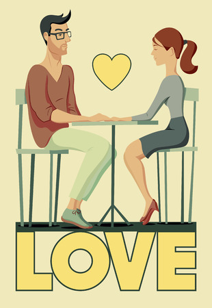 diffident: Valentines card. Romantic scene with a couple in love. Young man and woman at the table. Vector illustration. Illustration