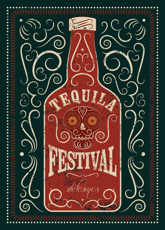 Typographic retro grunge design Tequila Festival poster. Tequila bottle with stylized mexican skull. Vector illustration.
