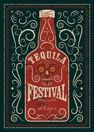 Tipográfica diseño retro grunge cartel Festival de Tequila. botella de tequila mexicano con el cráneo estilizado. Ilustración del vector. Ilustración de vector