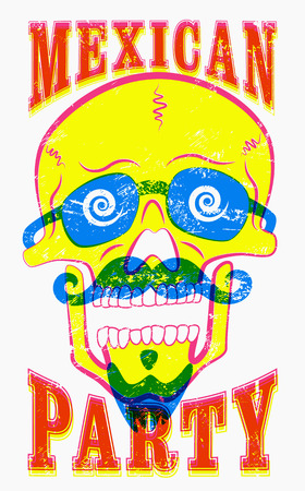 skull character: Typographic retro grunge Mexican Party poster. Funny skull character with a mustache and beard. Vector illustration.