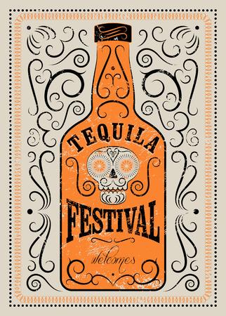 Typografisch retro grunge ontwerp Tequila Festival poster. Tequila fles met gestileerde Mexicaanse schedel. Vector illustratie.