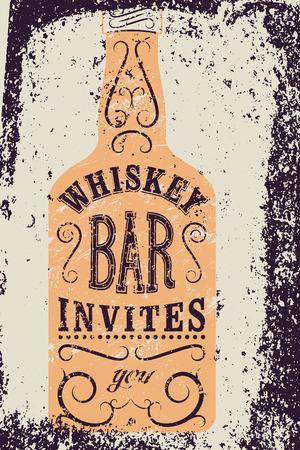 grunge bottle: Typographic retro grunge design Whiskey Bar poster. Vintage label with stylized whiskey bottle. Vector illustration.