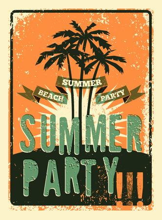 Summer Party tipográfica grunge diseño retro del cartel. Ilustración del vector. Eps 10.