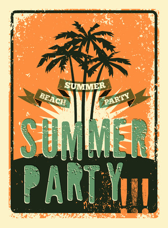 beach party: Typographic Summer Party grunge retro poster design. Vector illustration. Eps 10.