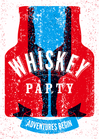 Typographic retro grunge design Whiskey Party poster. Vector illustration. Eps 10.