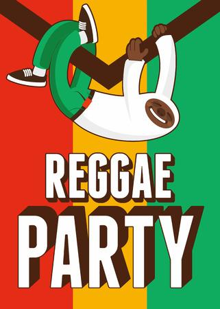 jah: Reggae Party poster. Retro typographical grunge vector illustration. Illustration