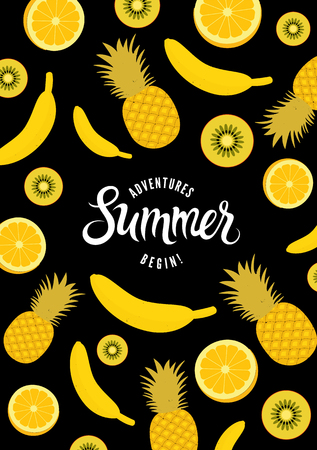 overlying: Summer calligraphic retro poster with fruit background. Vector illustration with overlying layer. Eps 10. Illustration