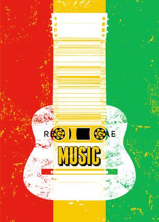 jah: Reggae music poster. Retro typographical grunge vector illustration.