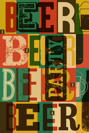 typographical: Typographical vintage style Beer Party poster design. Retro vector illustration.