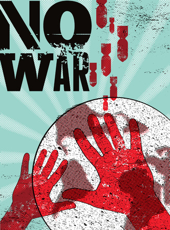 against: No war. Typographic retro grunge peace poster. Vector illustration.