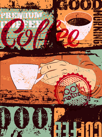 typographical: Coffee typographical vintage style grunge poster. Hand holds a coffee cup. Retro vector illustration.
