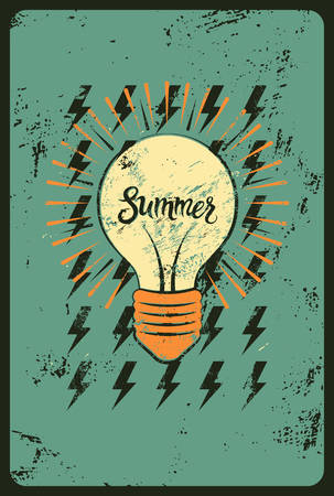 shining light: Typographic retro grunge summer poster. Stylized shining light bulb. Vector illustration.