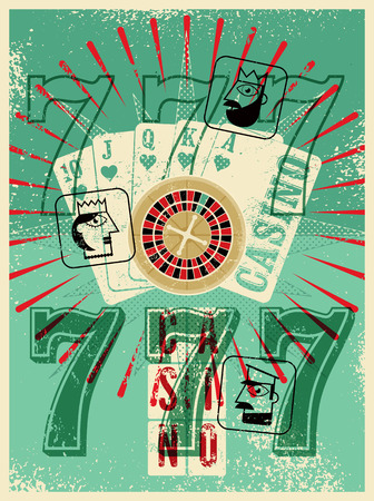 artistic addiction: Casino vintage grunge style poster. Playing cards, roulette, triple seven. Stylized Jack, Queen and King. Retro illustration.