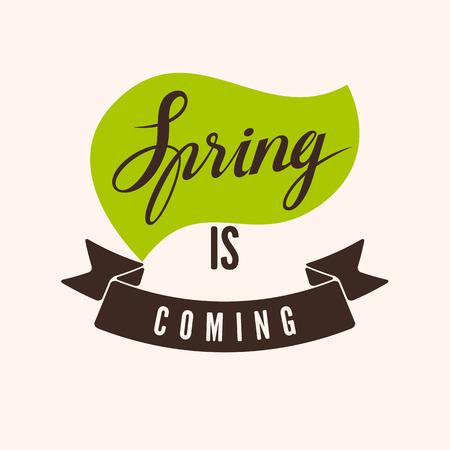 april beautiful: Spring is Coming. Typographic retro design. illustration.