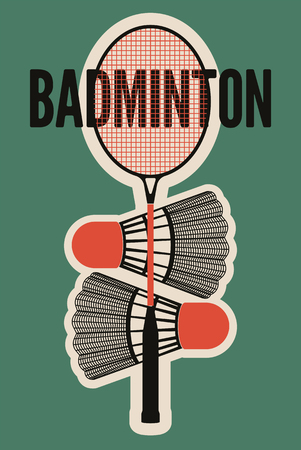 badminton racket: Badminton typographic vintage style poster. Retro illustration with racket and shuttlecocks.