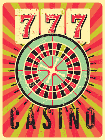 artistic addiction: Casino vintage grunge style poster with roulette. Retro illustration.