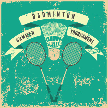 badminton racket: Badminton typographic vintage grunge style poster. Retro illustration with rackets and shuttlecock.