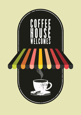 Coffee House typographical vintage style poster. Retro vector illustration. Illusztráció