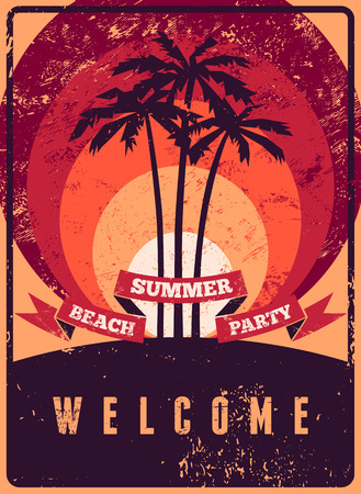beach party: Typographic Summer Beach Party grunge retro poster design. Vector illustration.