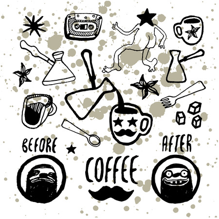 coffeehouse: Set of hand-drawn coffee elements. Menu design for coffeehouse, cafe, restaurant. Vector illustration.