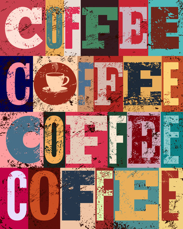 typographical: Coffee typographical vintage style grunge poster. Retro vector illustration.