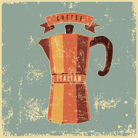 typographical: Coffee typographical vintage style grunge poster with classic moka pot coffee maker. Retro vector illustration.