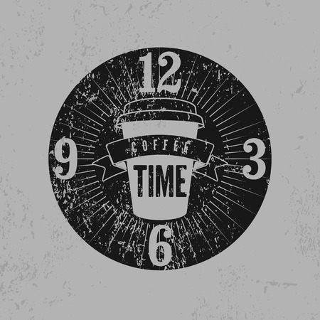 typographical: Coffee Time typographical grunge vintage style poster. Retro illustration.