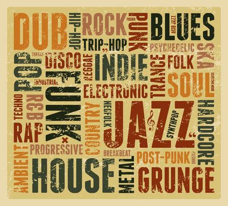 metal grunge: Music Styles typographic vintage grunge poster