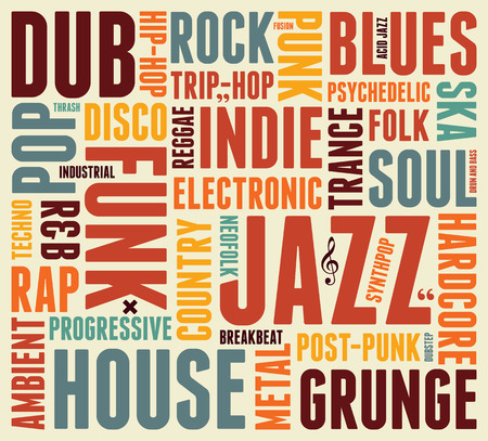 Music Styles typographic vintage poster Vector Illustration