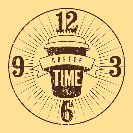 typographical: Coffee Time typographical grunge vintage style poster