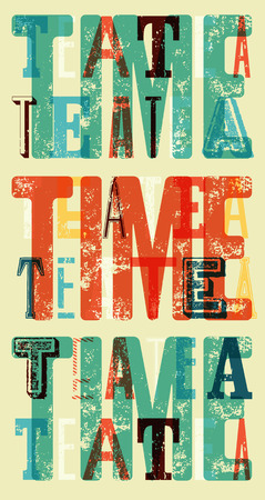 typographical: Tea Time typographical vintage style grunge poster