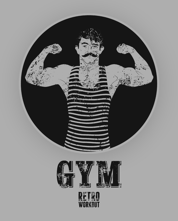sportsmen: Typographic Gym vintage grunge poster design with strong man. Retro vector illustration.