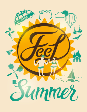 couple in summer: Feel the summer. Calligraphic retro poster with cartoon couple and tourism design elements. Vector illustration. Illustration