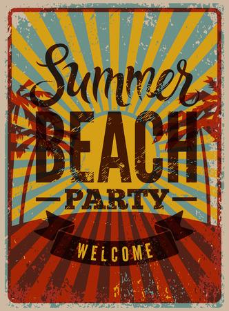 sundown: Typographic Summer Beach Party grunge retro poster design. Vector illustration.