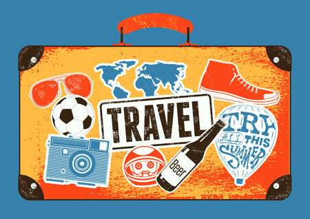 old suitcase: Typographical retro grunge travel poster. Vintage design old suitcase with labels. Vector illustration.