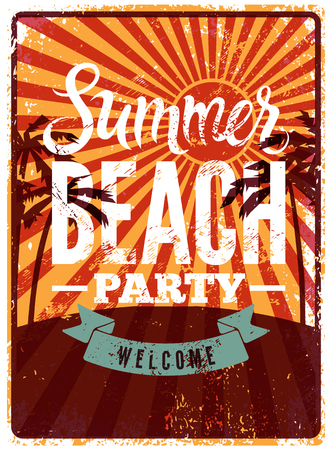 retro party: Typographic Summer Beach Party grunge retro poster design. Vector illustration.