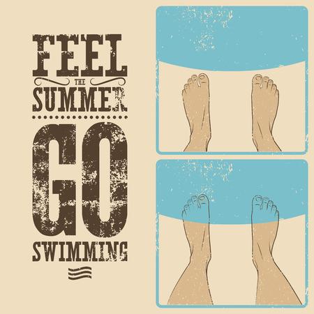 phrase: Summer phrase typographic vintage grunge poster design. Illustration