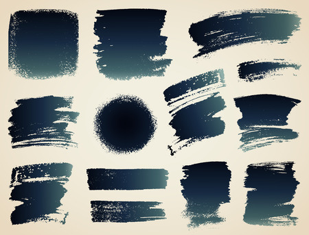 various: Vector set of hand drawn brush strokes and stains. Illustration