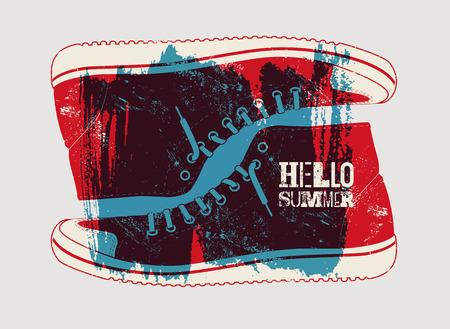 Bonjour été! Conception d'affiche rétro grunge typographique de l'été. Illustration vectorielle