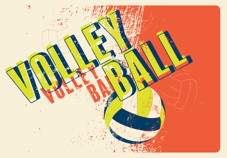 sporting event: Volleyball typographical vintage grunge style poster. Retro vector illustration.