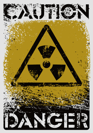 polution: Radioactive Sign. Typographic vintage grunge style poster. Retro vector illustration.
