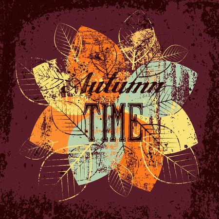 typographical: Autumn time typographical vintage grunge poster.