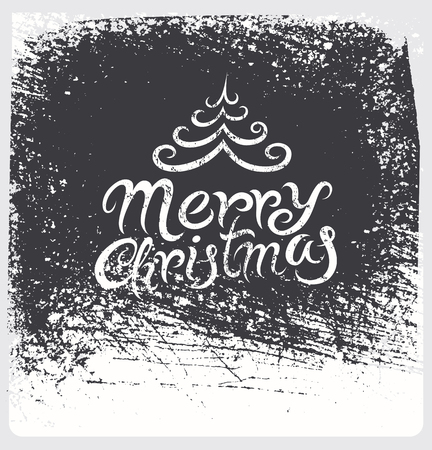 grunge layer: Calligraphic vintage Christmas card design. Grunge effect on separate layer.