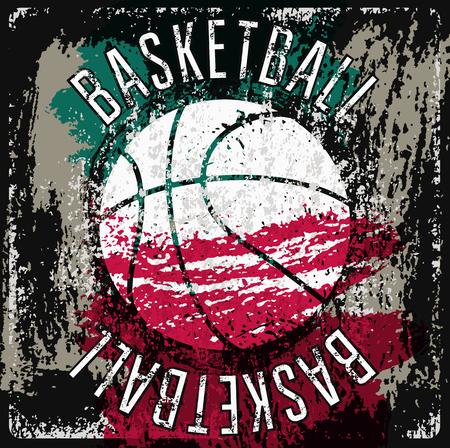 Basketball typographical vintage grunge style poster. Retro vector illustration. Illustration