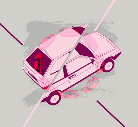 dissociation: Retro Car typographic vintage style background. Vector illustration.