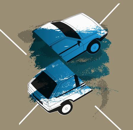 Retro Car typographic vintage style background. Vector illustration.