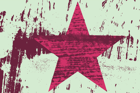 Grunge texture star abstract background with hand drawn brush strokes and stains. Retro vector illustration.