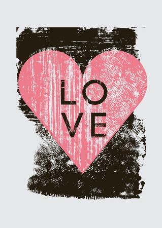 dabs: Grunge texture Love Heart abstract background with hand drawn brush strokes and stains.